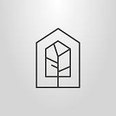 linear geometric house tree icon