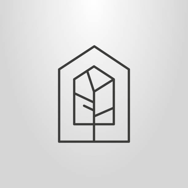 bildbanksillustrationer, clip art samt tecknat material och ikoner med linjär geometriska hussymbol träd - bo
