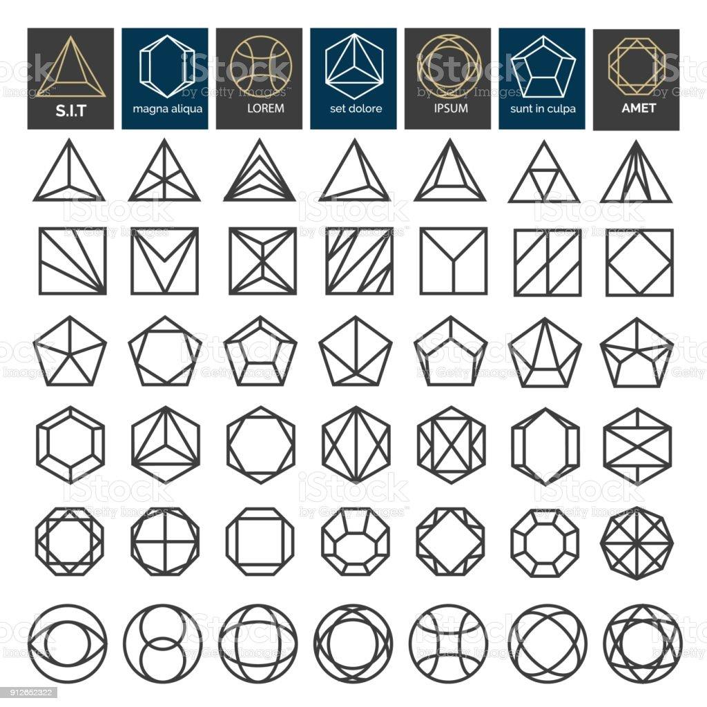 Linear geometric shapes vector art illustration