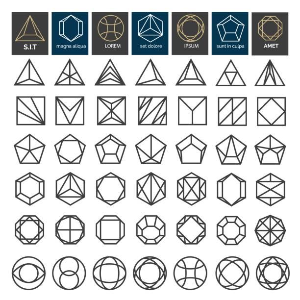 linear geometric shapes - gemstone stock illustrations, clip art, cartoons, & icons