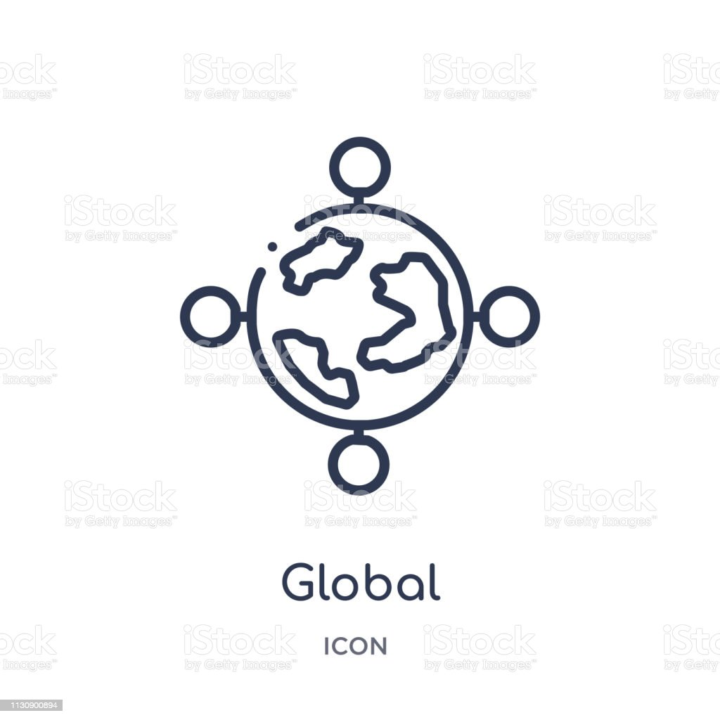 Linear global icon from Artifical intelligence outline collection. Thin line global vector isolated on white background. global trendy illustration vector art illustration