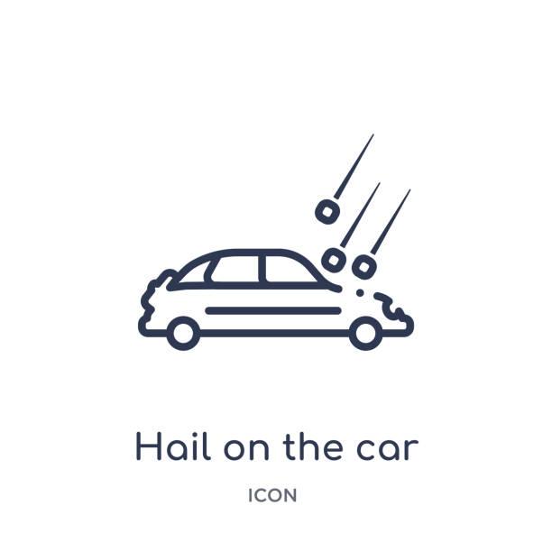 stockillustraties, clipart, cartoons en iconen met lineaire hagel op de auto-icoon van verzekeringen outline collectie. dunne lijn hagel op de auto-icoon geïsoleerd op witte achtergrond. hagel op de auto trendy illustratie - taxi robber