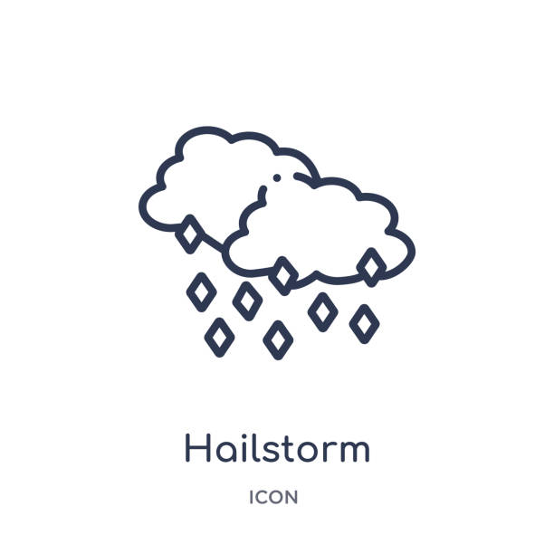 Linear hailstorm icon from Meteorology outline collection. Thin line hailstorm icon isolated on white background. hailstorm trendy illustration Linear hailstorm icon from Meteorology outline collection. Thin line hailstorm icon isolated on white background. hailstorm trendy illustration hailstorm stock illustrations