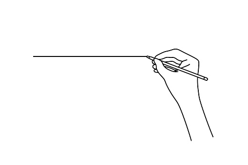 linear hand drawing a straight line