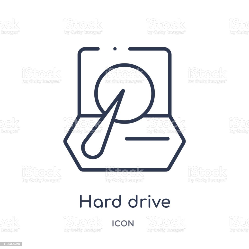 Linear hard drive icon from Artifical intelligence outline collection. Thin line hard drive vector isolated on white background. hard drive trendy illustration vector art illustration