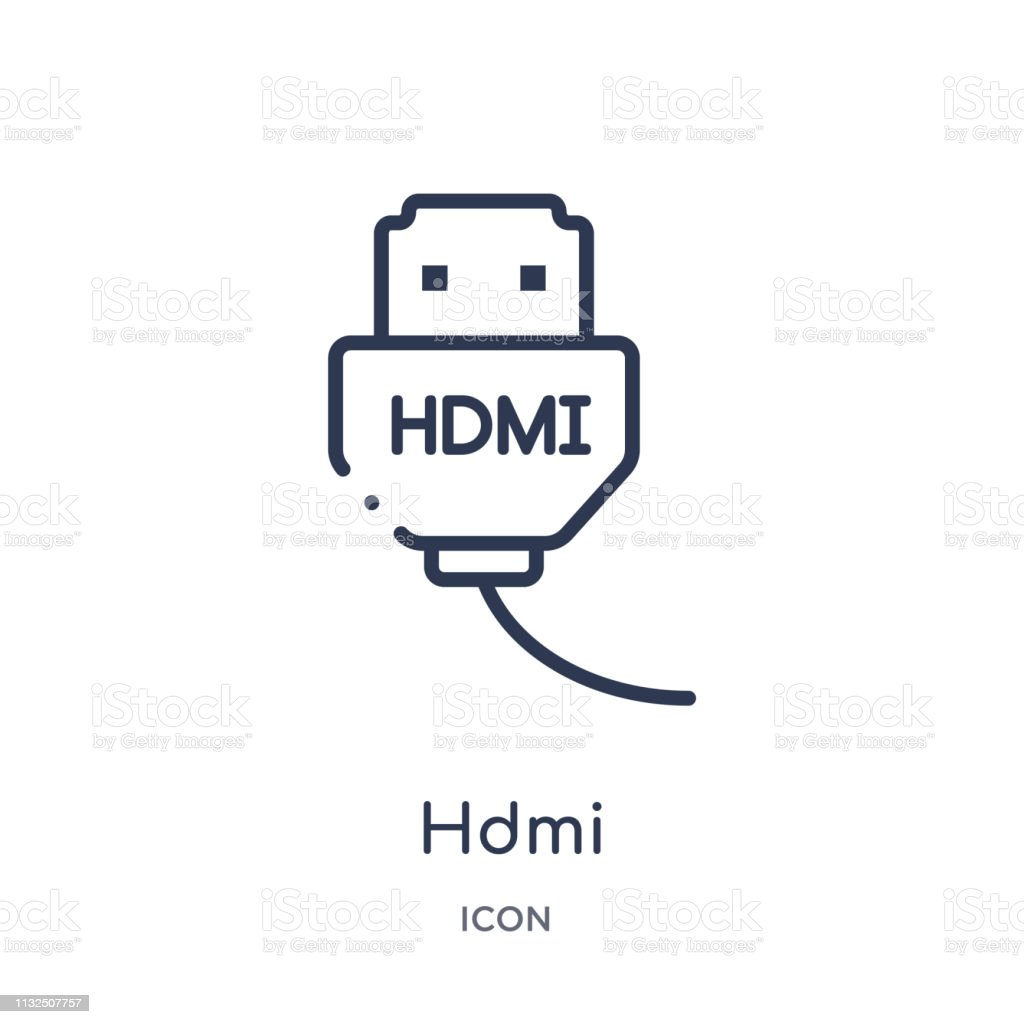 linear hdmi icon from electronic devices outline collection thin line hdmi vector isolated on white background hdmi trendy illustration stock illustration download image now istock https www istockphoto com vector linear hdmi icon from electronic devices outline collection thin line hdmi vector gm1132507757 300248759