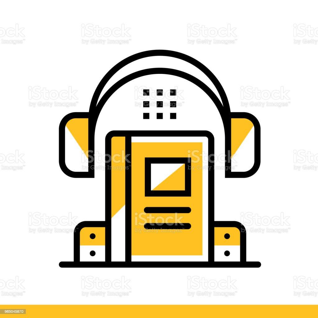 Linear icon Audio book. Online education, e-learning. Suitable for print, interface, web, presentation linear icon audio book online education elearning suitable for print interface web presentation - stockowe grafiki wektorowe i więcej obrazów bez ludzi royalty-free