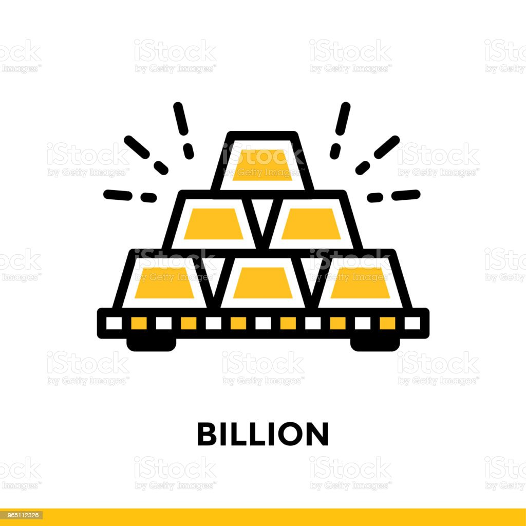 Linear icon BILLION of finance, banking. Pictogram in outline style. Suitable for mobile apps, websites and design templates royalty-free linear icon billion of finance banking pictogram in outline style suitable for mobile apps websites and design templates stock vector art & more images of banking