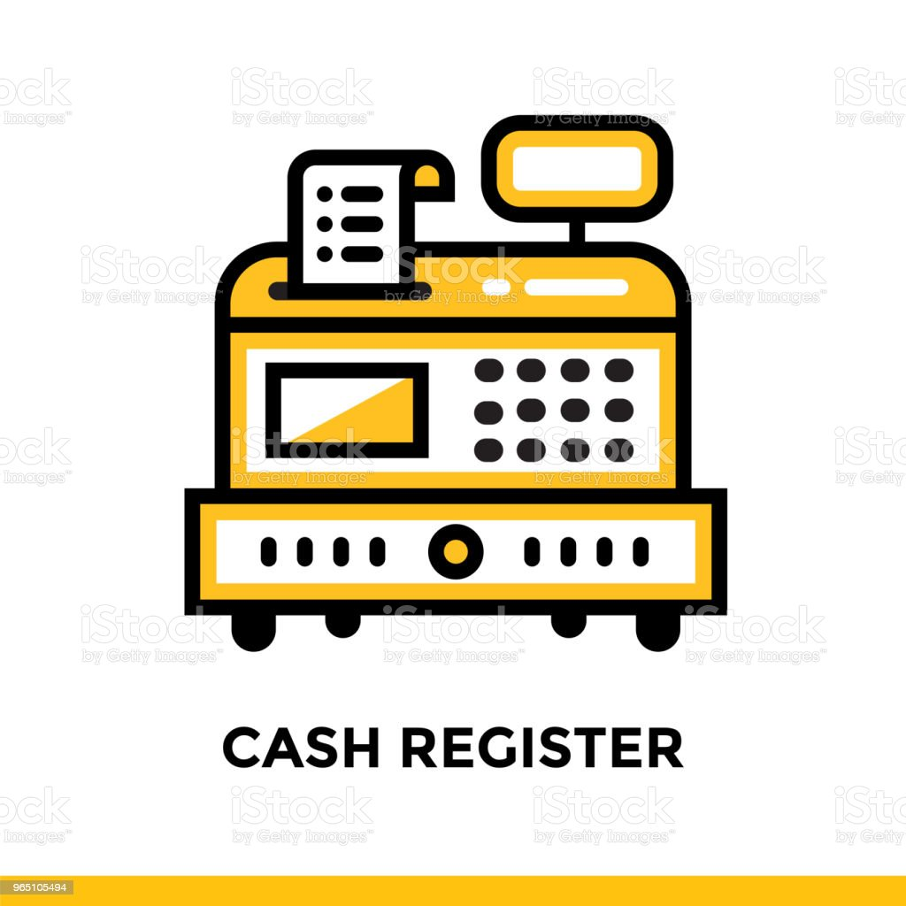 Linear icon CASH REGISTER of finance, banking. Pictogram in outline style. Suitable for mobile apps, websites and design templates royalty-free linear icon cash register of finance banking pictogram in outline style suitable for mobile apps websites and design templates stock vector art & more images of banking