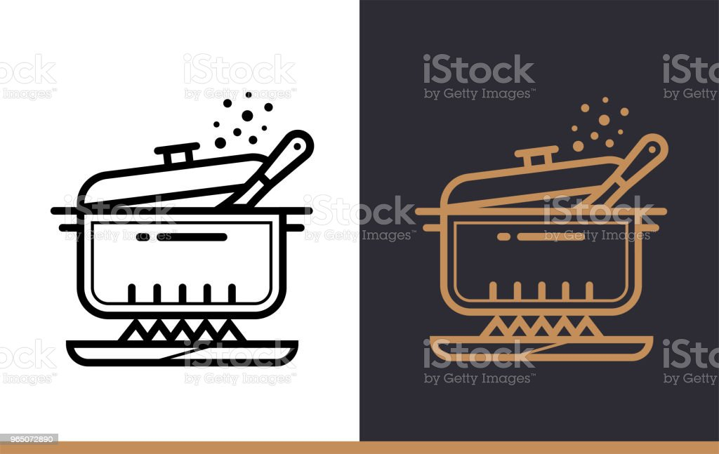 Linear icon Cooking pan of bakery, cooking. Vector pictogram suitable for websites, presentation and print media linear icon cooking pan of bakery cooking vector pictogram suitable for websites presentation and print media - stockowe grafiki wektorowe i więcej obrazów bez ludzi royalty-free