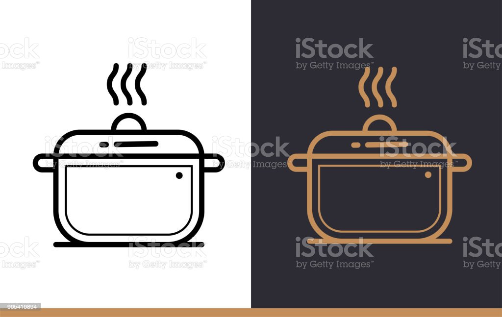 Linear icon COOKING POT of bakery, cooking. Pictogram in outline style. Suitable for mobile apps, websites and presentation royalty-free linear icon cooking pot of bakery cooking pictogram in outline style suitable for mobile apps websites and presentation stock vector art & more images of bakery