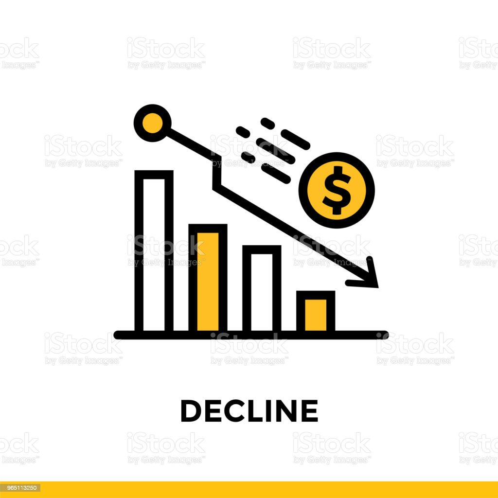Linear icon DECLINE of finance, banking. Pictogram in outline style. Suitable for mobile apps, websites and design templates royalty-free linear icon decline of finance banking pictogram in outline style suitable for mobile apps websites and design templates stock vector art & more images of banking