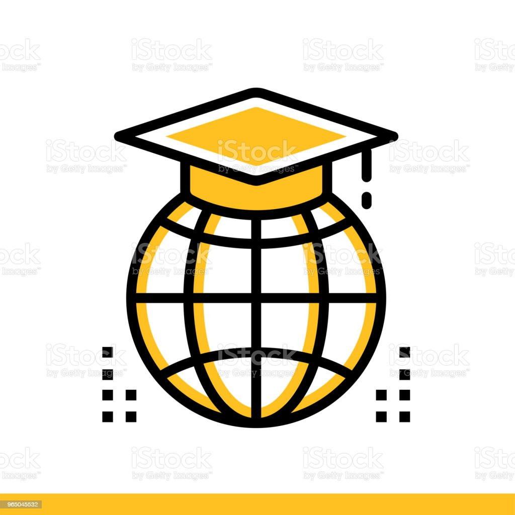 Linear icon Distance education. Online education, e-learning. Suitable for print, interface, web, presentation royalty-free linear icon distance education online education elearning suitable for print interface web presentation stock vector art & more images of book
