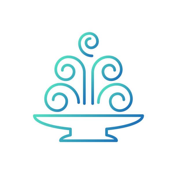 linear icon fountain. vector illustration. - fontanna stock illustrations