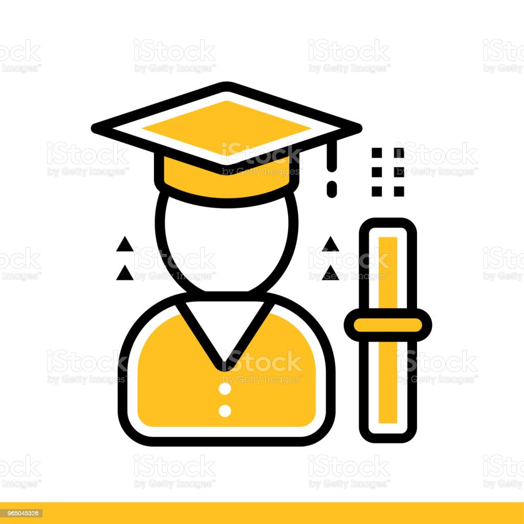 Linear icon Graduation ceremony. Online education, e-learning. Suitable for print, interface, web, presentation royalty-free linear icon graduation ceremony online education elearning suitable for print interface web presentation stock vector art & more images of design