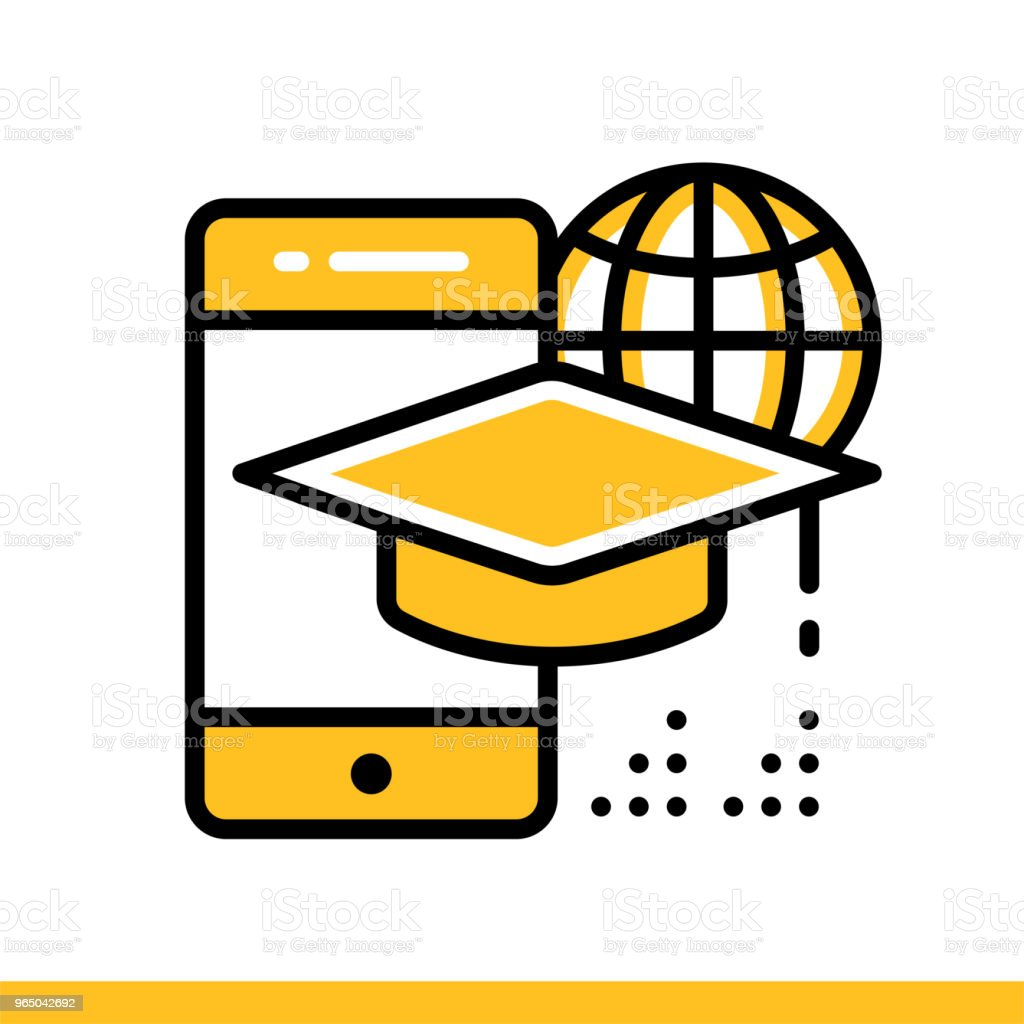 Linear icon Mobile learning. Online education, e-learning. Suitable for print, interface, web, presentation royalty-free linear icon mobile learning online education elearning suitable for print interface web presentation stock vector art & more images of design