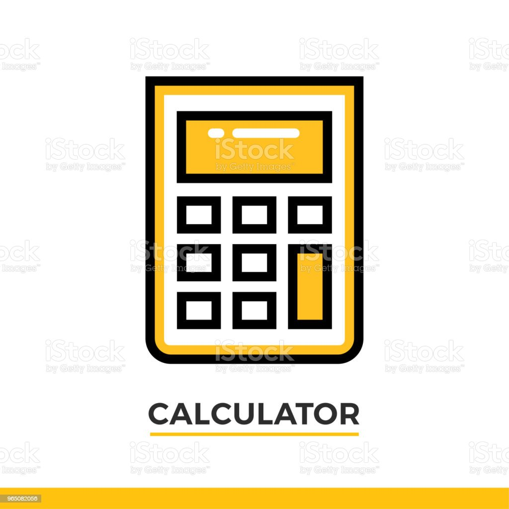 Linear icon of calculator. Pictogram in outline style on white. Vector modern flat design element for mobile application and web design. linear icon of calculator pictogram in outline style on white vector modern flat design element for mobile application and web design - stockowe grafiki wektorowe i więcej obrazów bez ludzi royalty-free