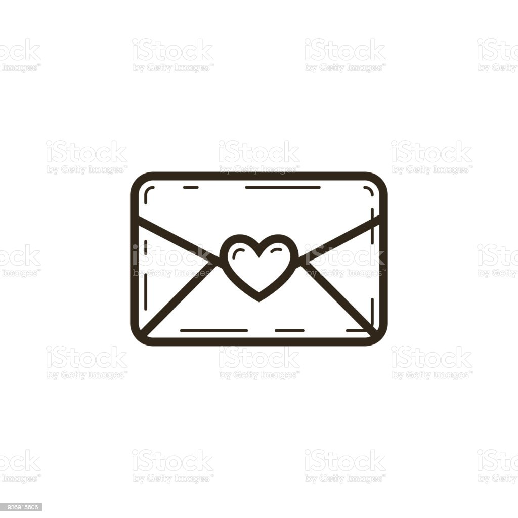 linear icon of closed letter with heart vector art illustration