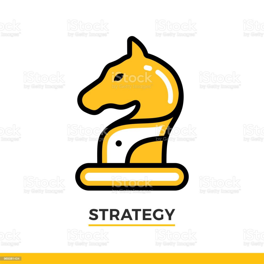 Linear icon of horse, strategy concept. Pictogram in outline style on white. Vector modern flat design element for mobile application and web design. linear icon of horse strategy concept pictogram in outline style on white vector modern flat design element for mobile application and web design - stockowe grafiki wektorowe i więcej obrazów bez ludzi royalty-free