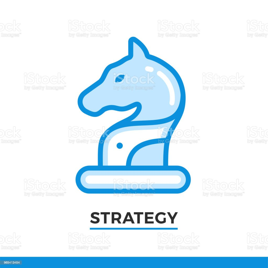 直線圖示馬, 戰略概念。表意字元在白色的輪廓樣式。向量現代平面設計項目用於移動應用和 web 設計。 - 免版稅商務圖庫向量圖形