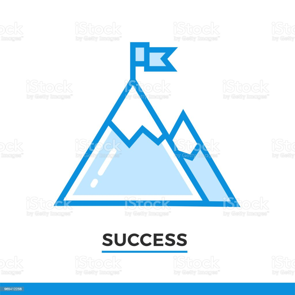 Linear icon of mountain, success concept. Pictogram in outline style. Vector modern flat design element for mobile application and web design. royalty-free linear icon of mountain success concept pictogram in outline style vector modern flat design element for mobile application and web design stock illustration - download image now