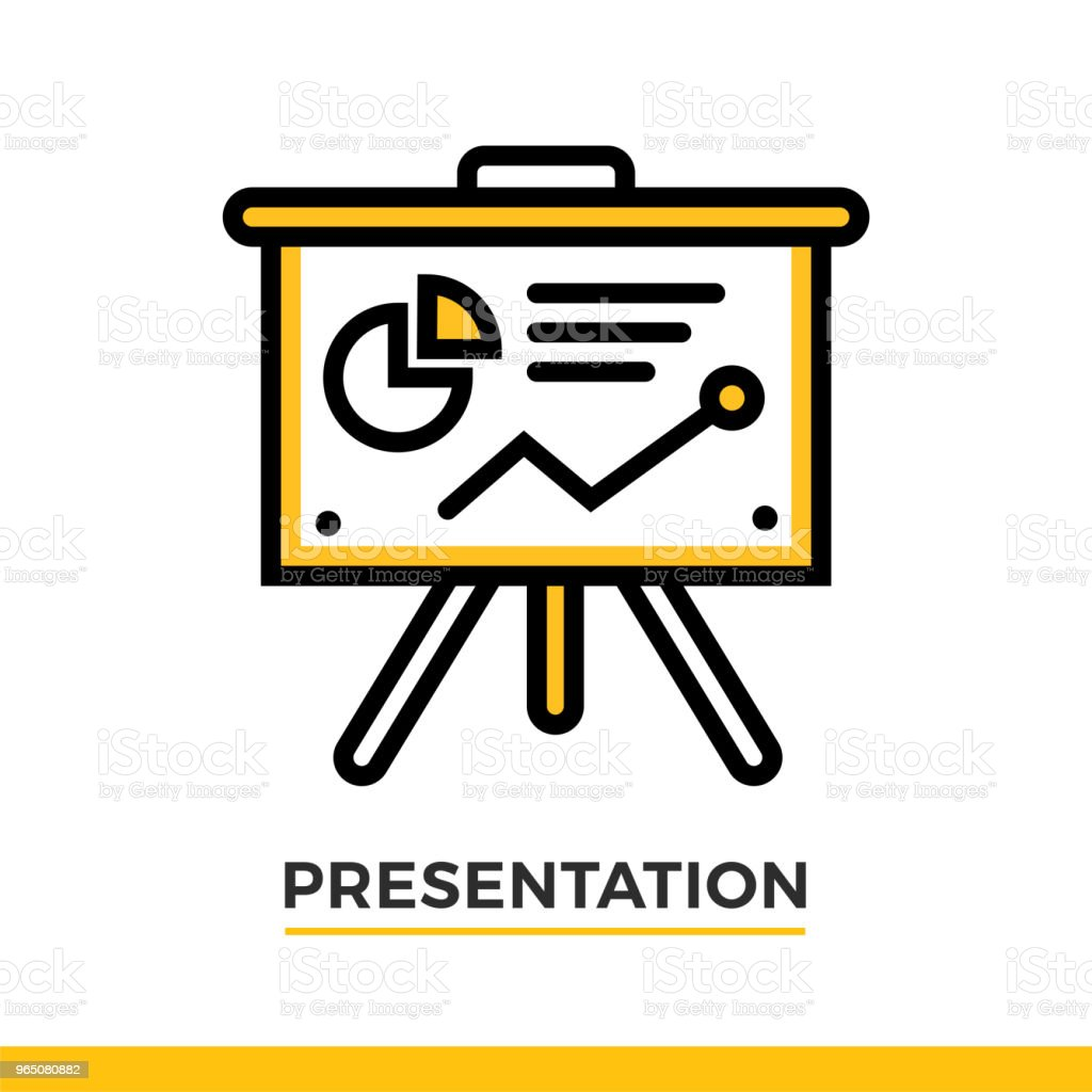 Linear icon of presentation process. Pictogram in outline style. Vector modern flat design element for mobile application and web design. linear icon of presentation process pictogram in outline style vector modern flat design element for mobile application and web design - stockowe grafiki wektorowe i więcej obrazów bez ludzi royalty-free