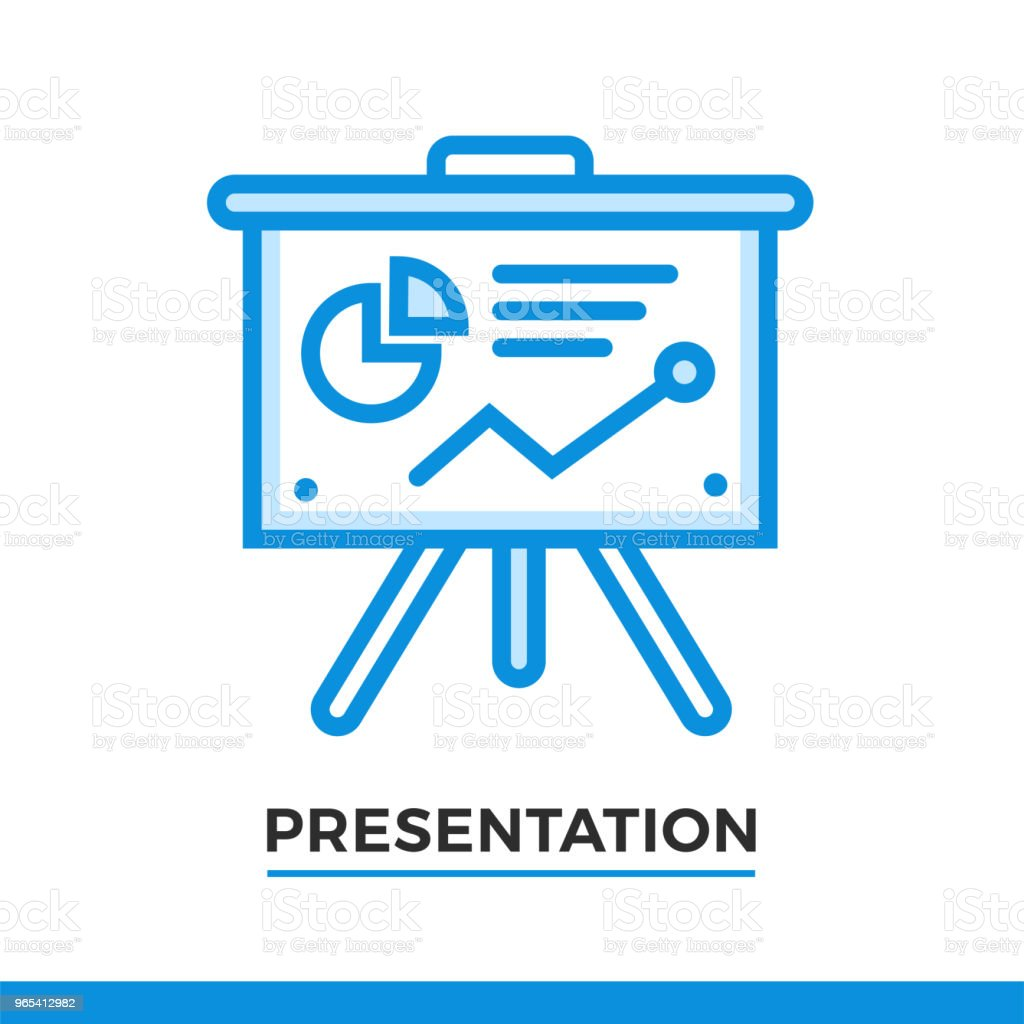 Linear icon of presentation process. Pictogram in outline style. Vector modern flat design element for mobile application and web design. royalty-free linear icon of presentation process pictogram in outline style vector modern flat design element for mobile application and web design stock vector art & more images of business
