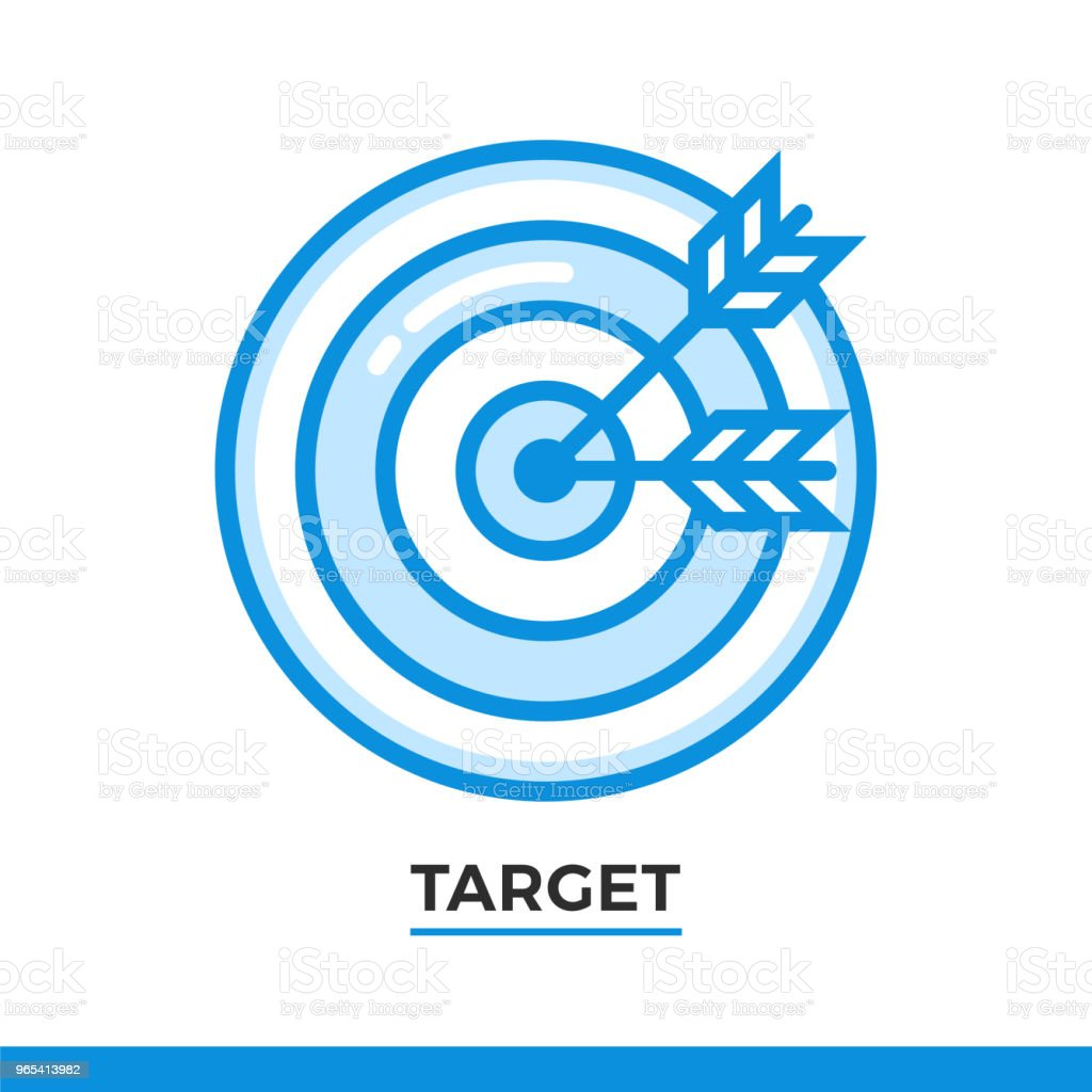 Linear icon of target. Pictogram in outline style on white. Vector modern flat design element for mobile application and web design. royalty-free linear icon of target pictogram in outline style on white vector modern flat design element for mobile application and web design stock vector art & more images of design