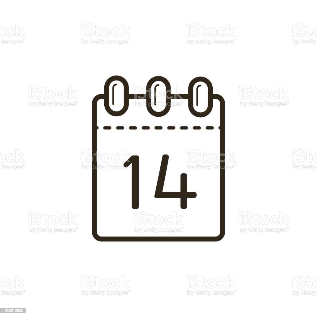 lineare Ikone der Abreißkalender mit dem vierzehnten – Vektorgrafik