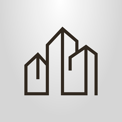 linear icon of three high-rise buildings clipart