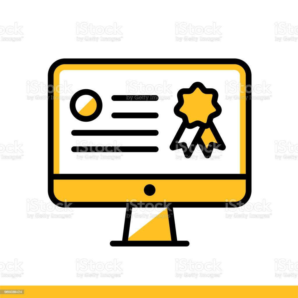 Linear icon Online certification. Online education, e-learning. Suitable for print, interface, web, presentation linear icon online certification online education elearning suitable for print interface web presentation - stockowe grafiki wektorowe i więcej obrazów bez ludzi royalty-free
