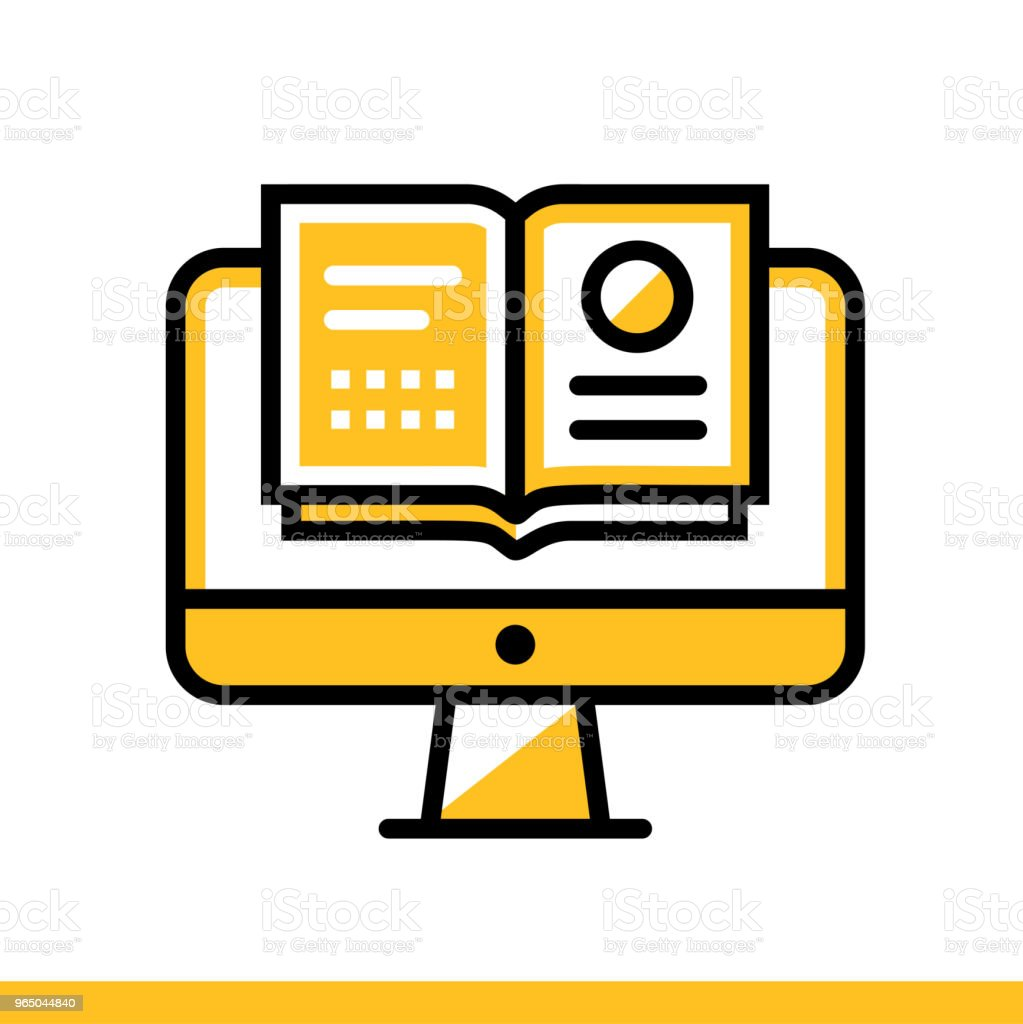 Linear icon Online reading. Online education, e-learning. Suitable for print, interface, web, presentation royalty-free linear icon online reading online education elearning suitable for print interface web presentation stock vector art & more images of design