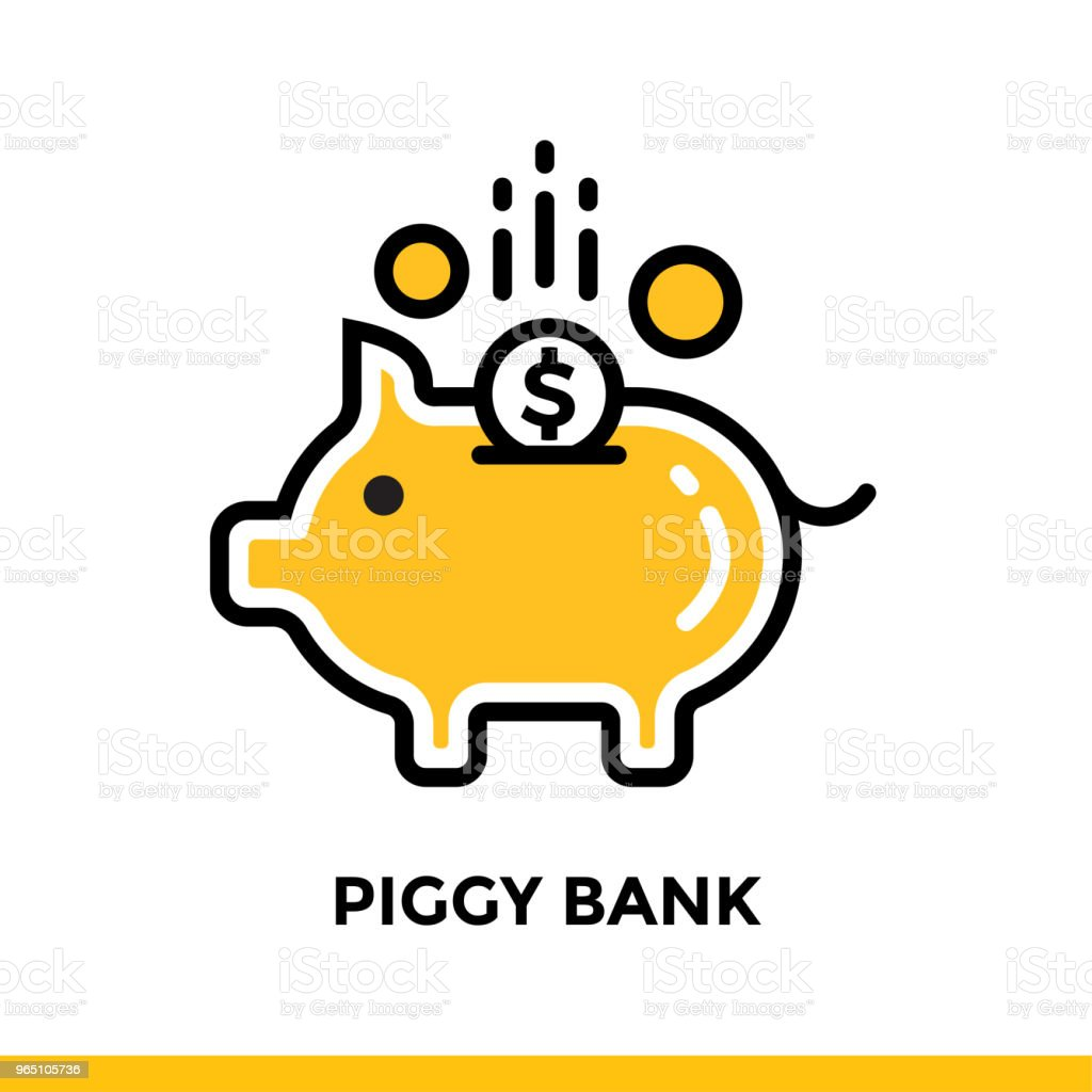 Linear icon PIGGY BANK of finance, banking. Pictogram in outline style. Suitable for mobile apps, websites and design templates linear icon piggy bank of finance banking pictogram in outline style suitable for mobile apps websites and design templates - stockowe grafiki wektorowe i więcej obrazów bankowość royalty-free