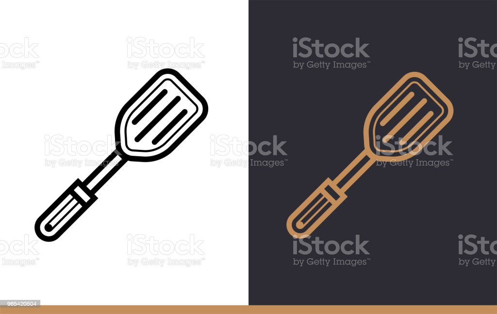 Linear icon PLASTIC SPATULA of bakery, cooking. Pictogram in outline style. Suitable for mobile apps, websites and presentation royalty-free linear icon plastic spatula of bakery cooking pictogram in outline style suitable for mobile apps websites and presentation stock vector art & more images of bakery