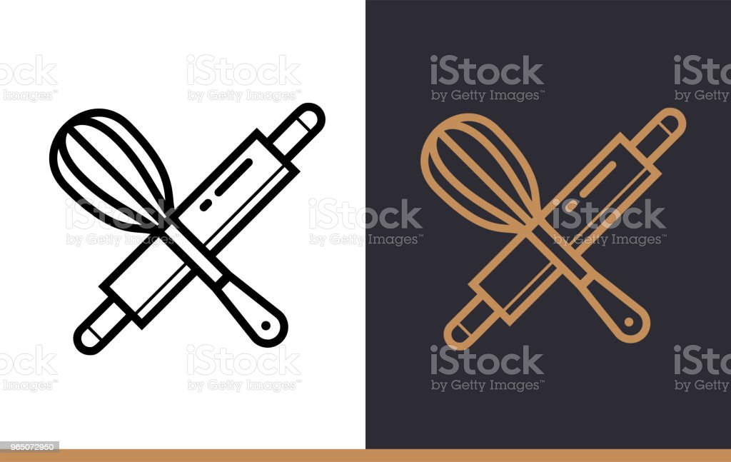 Linear icon ROLLING PIN, WHISK of bakery, cooking. Vector pictogram suitable for websites, presentation and print media royalty-free linear icon rolling pin whisk of bakery cooking vector pictogram suitable for websites presentation and print media stock vector art & more images of bakery