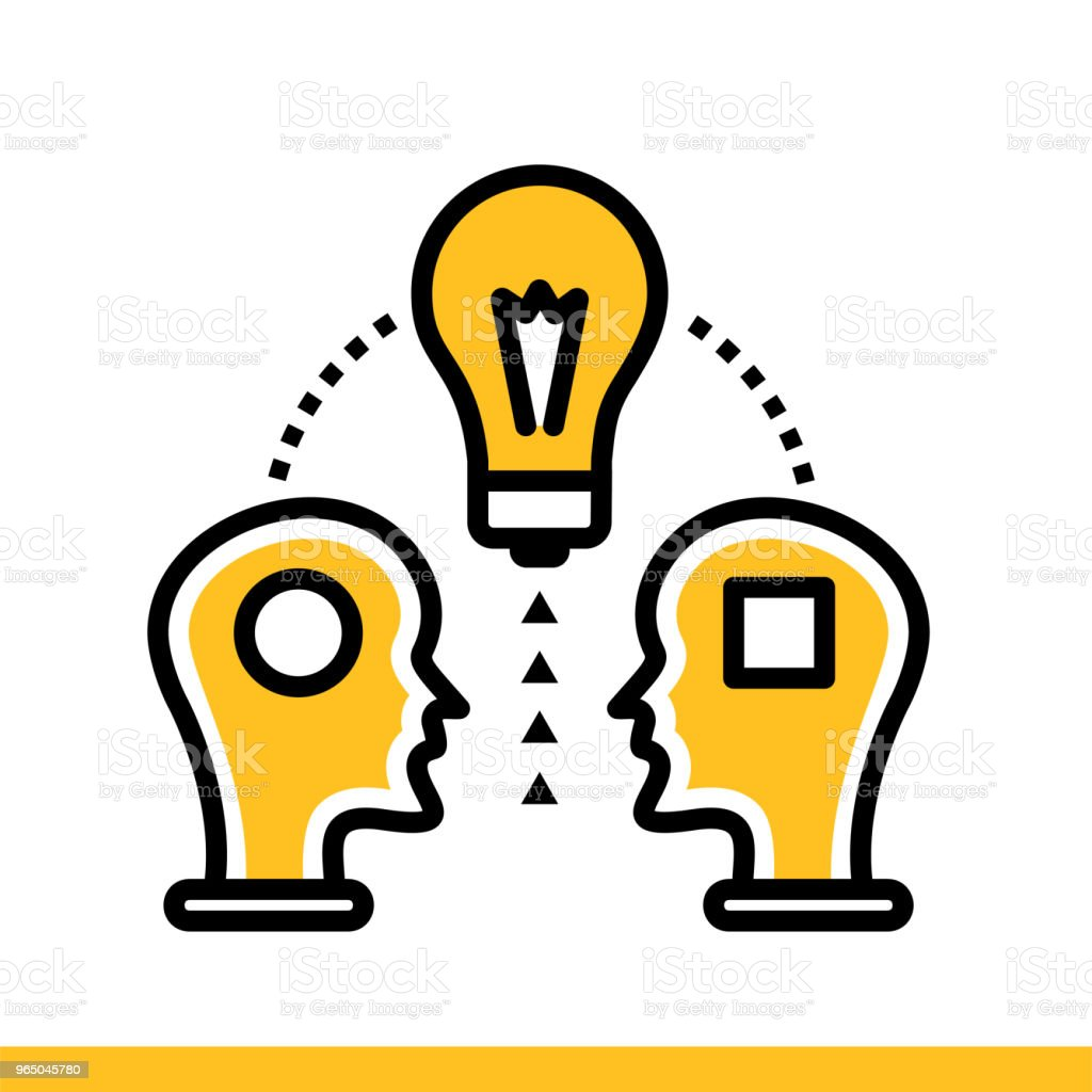 Linear icon Share ideas. Education, e-learning. Suitable for print, interface, web, presentation linear icon share ideas education elearning suitable for print interface web presentation - stockowe grafiki wektorowe i więcej obrazów e-learning royalty-free