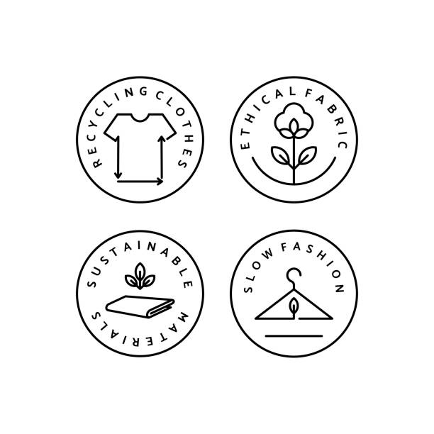 Linear Icon Slow Fashion Set Linear Icon Slow Fashion. Vector Logo, badge for eco-friendly manufacturing. Symbol of the natural and quality clothes. Recycling clothes. Conscious fashion. Ethical and eco Sustainable Materials. cotton stock illustrations