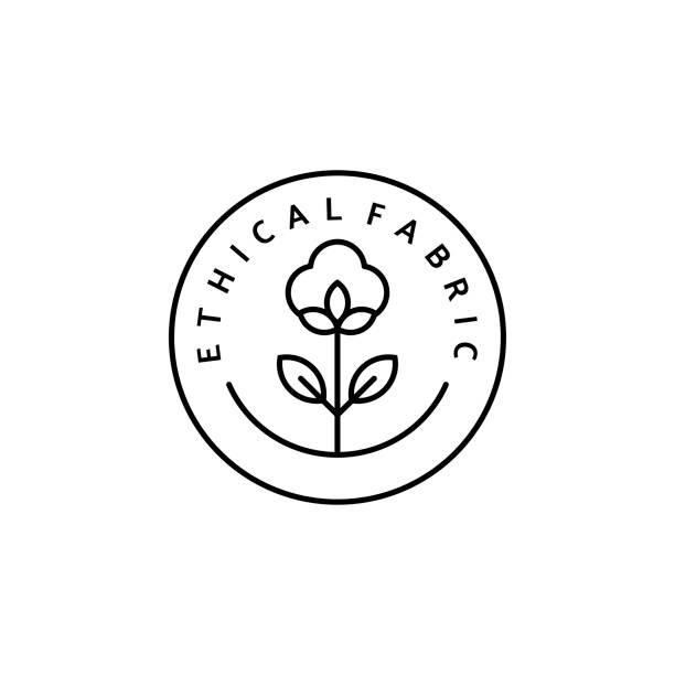 Linear Icon Slow Fashion Linear Icon Ethical fabric. Vector Logo, badge for eco-friendly manufacturing. A symbol of the natural and quality clothes - cotton. Conscious fashion. Ethical and eco Sustainable Materials. cotton stock illustrations