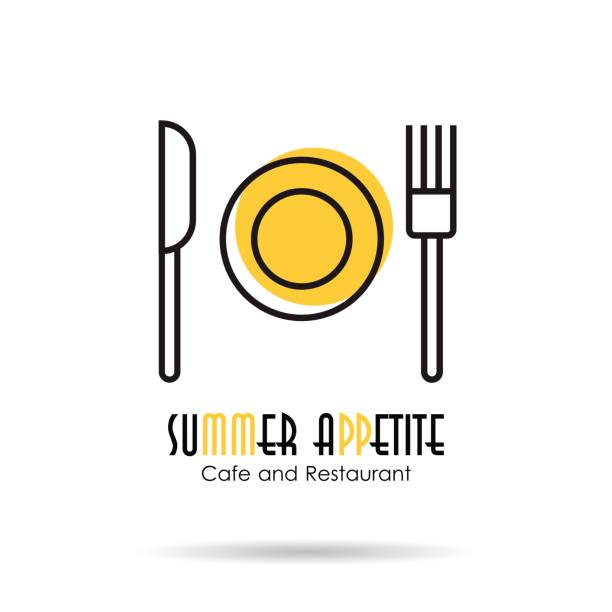 linear icon - summer appetite - restaurant logos stock illustrations, clip art, cartoons, & icons