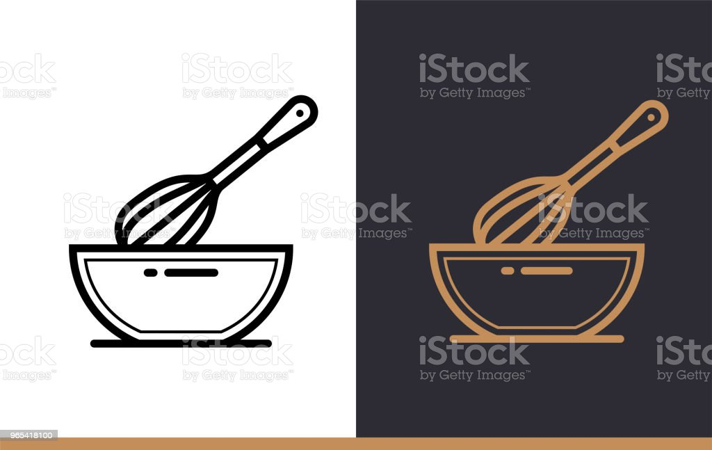 Linear icon WHISK, BOWL of bakery, cooking. Pictogram in outline style. Suitable for mobile apps, websites and presentation royalty-free linear icon whisk bowl of bakery cooking pictogram in outline style suitable for mobile apps websites and presentation stock vector art & more images of bakery