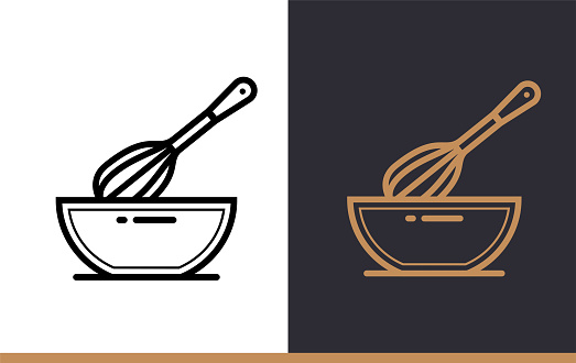 Linear Icon Whisk Bowl Of Bakery Cooking Pictogram In Outline Style Suitable For Mobile Apps Websites And Presentation Stock Illustration - Download Image Now