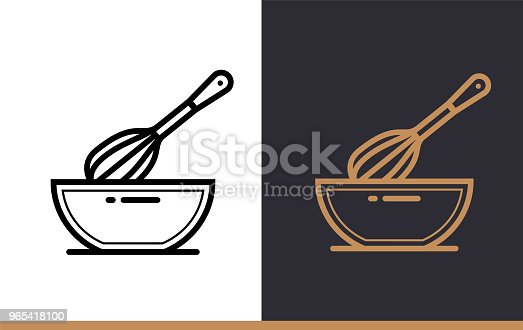 Linear Icon Whisk Bowl Of Bakery Cooking Pictogram In Outline Style Suitable For Mobile Apps Websites And Presentation Stock Vector Art & More Images of Bakery 965418100