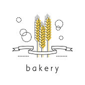 Linear icon with ribbon and wheat ears. A symbol of a bakery, flour, bread. Vector illustration.