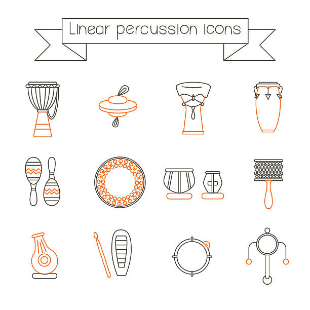 linear icons of ethnic drums orange Collection of traditional percussion instruments in black and orange colors. Linear icons set. tavla stock illustrations