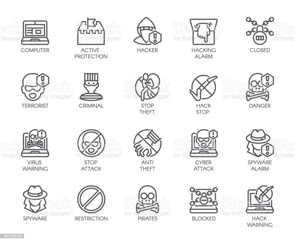 Ilustración de Iconos Lineales De Protección Virtual Ataques ...