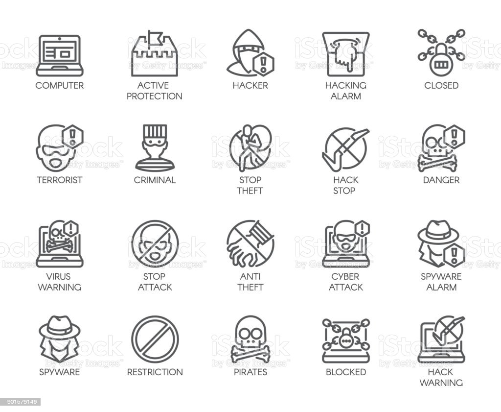 Linear icons of virtual protection, cyberattacks, computer viruses, hacking, stealing and piracy theme . Contour symbols of web protection and warnings. 20 outline vector pictographs isolated on white vector art illustration