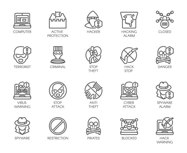 Linear icons of virtual protection, cyberattacks, computer viruses, hacking, stealing and piracy theme . Contour symbols of web protection and warnings. 20 outline vector pictographs isolated on white Linear icons of virtual protection, cyberattacks, computer viruses, hacking, stealing and piracy theme . Contour symbols of web protection and warnings. 20 outline vector pictographs isolated on white hacker stock illustrations