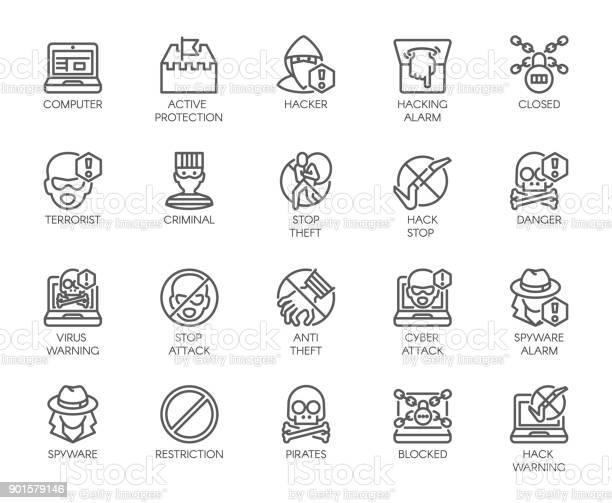 Linear Icons Of Virtual Protection Cyberattacks Computer Viruses Hacking Stealing And Piracy Theme Contour Symbols Of Web Protection And Warnings 20 Outline Vector Pictographs Isolated On White — стоковая векторная графика и другие изображения на тему Безопасность сети