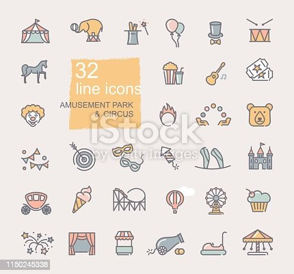 Linear icons on the theme of circus and amusement Park