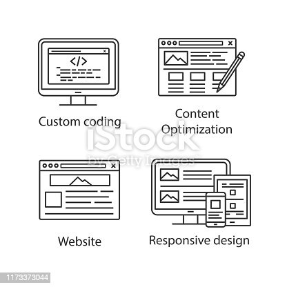SEO linear icons set. Custom coding, content editing, website, responsive design. Thin line contour symbols. Isolated vector outline illustrations. Editable stroke